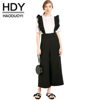 HDY Haoduoyi 2017 Autumn Fashion Womens Solid Black Ruffle Patchwork Casual Jumpsuit Sleeveless Wide Leg Rompers Overalls