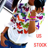 US STOCK Womens Long Sleeve Shirt Casual Lace Blouse Loose Cotton Tops T Shirt