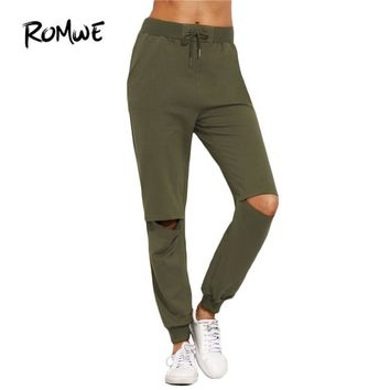 ROMWE Women Ripped Trousers For Autumn Ladies Plain Army Green Drawstring Mid Waist Tie Cut Out Knee Long Pants