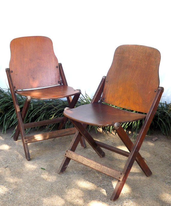 vintage pair folding wooden chairs set from forsythiahill on