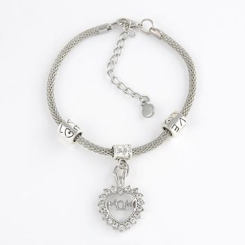 Trendy Silver Rhinestone Hearts Words Charm Bracelet Family Members Lovers Friendship Charms Bracelets Gifts Free shipping