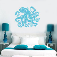 Wall Vinyl Sticker Decal Octopus Sea Ocean Beach House Decor (m485)