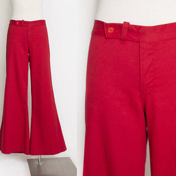 Vintage 70s Bell Bottoms - Red Wide Leg High Waist Pants 1970s - Small