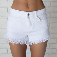 What The Fray High Waist Shorts In White