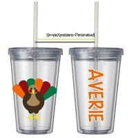 Thanksgiving turkey personalized 12 oz kids tumbler from SimpleXpressions-Personalized!
