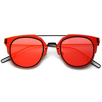 FIYAH WIRE FLAT FRAME MIRROR SUNGLASSES - RED BLACK