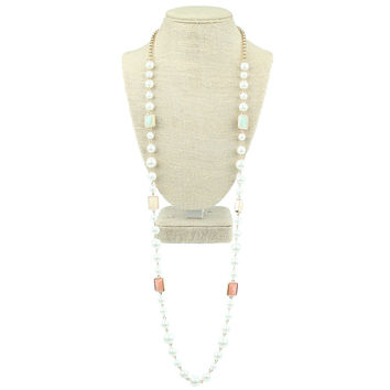 Glass Pearls & Square Beads Necklace in Multi by Country Club Prep