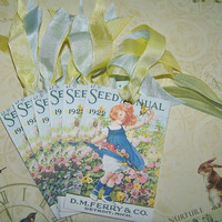Spring Tags Summer Tags Vintage Seed Packet Tags Vintage Style - Set of 6 or 9