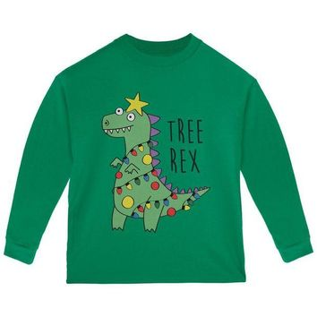 DCCKJY1 Christmas Tree Rex T-Rex Funny Dinosaur Toddler Long Sleeve T Shirt