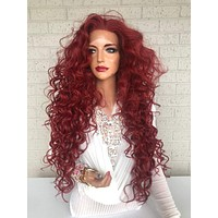 """sale Red Hair SWISS Lace Front Wig 26"""" with 1"""" Multiple Parting Victories 319 37"""
