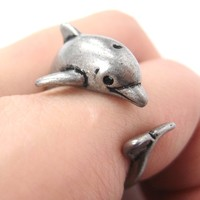 Dolphin Sea Animal 3D Wrap Around Realistic Ring in Silver - Size 5 to 10
