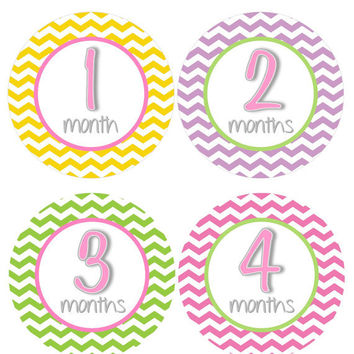 Baby Month Stickers Monthly Onesuit Stickers Girl Pink Green Purple Yellow Chevron Onesuit Stickers Girl Baby Shower Gift Photo Prop -Jan