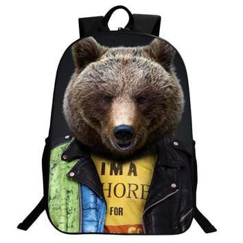Funny Children 3D Animal Document Photo Backpack Nylon Men's Backpack Satchel Rucksack Bear Printing Bag for School College Gift