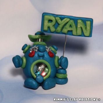 Polymer Clay Robot Cake Topper Boy Personalized Name - Miniature Whimsical Character Sculpture - BubbleBellyBotBaby