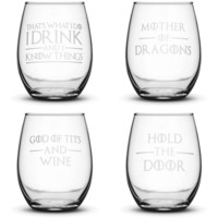 Choose your Wine Glass with Game of Thrones Quotes, Sand Carved by Integrity Bottles