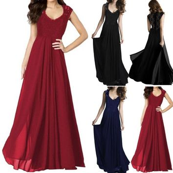 Women Chiffon Formal Party Prom Lace Evening Bridesmaid Long Dress