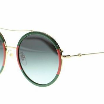 GUCCI Women's Tide Brand Trendy Round Sunglasses Gold/Green Gradient Lens F