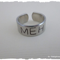 Meh - Hand Stamped Adjustable Ring