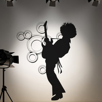Vinyl Wall Decal Sticker 70's Afro Guitar Player #OS_AA141