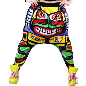 New Street Women Face Drop Croth Baggy Trousers Hip Hop Small Feet Dance Harem Pants SM6
