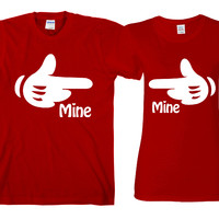 "Mine Hands""Cute Couples Matching T-shirts"""