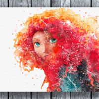 Princess Merida Brave Disney Watercolor Print Instant Download