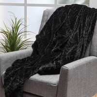 Tuscan Black Fur Fabric Throw Blanket