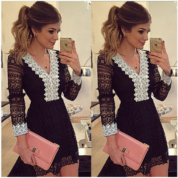 Autumn Lace V-neck Long Sleeve Skirt Black One Piece Dress [4919457796]
