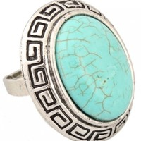 Large Oval Turquoise Adjustable Ring