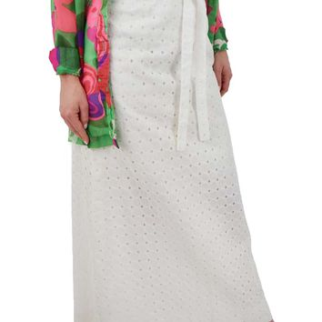 60s Lilly Pulitzer Embroidered White Eyelet Maxi Skirt