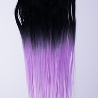 Ombré Lavender Dip Dyed 7pcs Straight Clip-In Hair Extensions