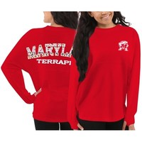 Women's Maryland Terrapins Red Aztec Sweeper Long Sleeve Top