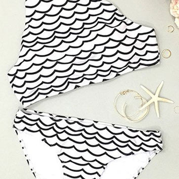Cupshe Deep Water Waves Tank Bikini Set