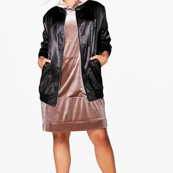 Plus Sheena Longline Satin Bomber | Boohoo