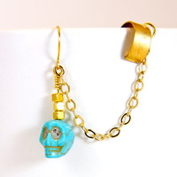 Turquoise Ear cuff Earring with Skull stone bead by AtelierYumi