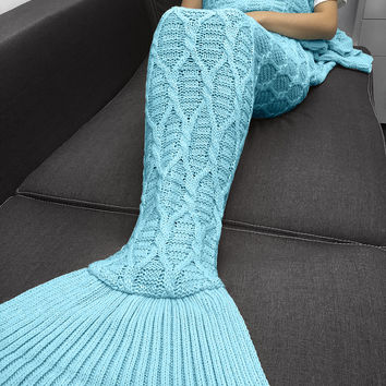 Hot Deal Birthday Gifts Knit Mermaid Sofa Blanket [9594669967]