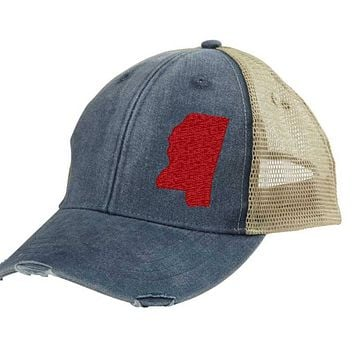 Mississippi  Hat - Distressed Snapback Trucker Hat - off-center state pride hat - Pick your colors
