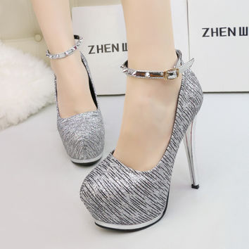 Bling Stripe PU Woman Thin High Heels Platform Rivets Pumps Lady' Sexy Nightclub and Party Slim Women Shoes Ankle Strip