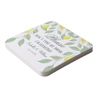 Modern Lemon Boho Summer Wedding Square Paper Coaster