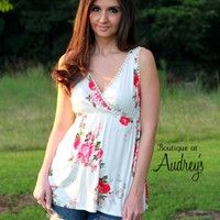 Ivory Floral Print Sleeveless Top with Lace Detail by P.S. Kate