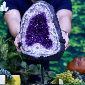 Amethyst Geode 14.75 Custom Stand Uruguay Crystal Cluster CC-134s