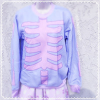 Pastel Goth Sweater, Skeleton Sweater, Sweater, Kawaii Sweater, Pastel Sweater
