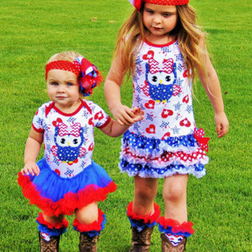 4th of July Dress, Owl Outfit, Red White and Blue, Matching Set!