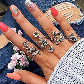 Stackable Rings for Teen Girls Jiayit 4pcs Stack Rings Flower Rhinestone Joint Rings Knuckle Nail Ring Set (Silver 2)