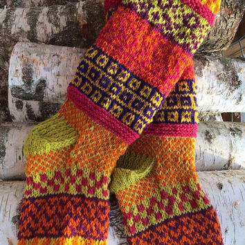 Natural Wool Socks, Hand Knitted Pure Wool Winter Cosy Socks, Thick Wool Socks, Fair Isle, Boho Style Socks, Large, Slouchy, Multi Coloured