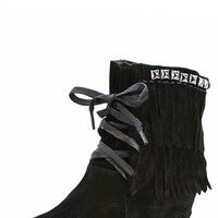 Bamboo Mariela-10 Black Fringe Studded Moccasin Wedge Booties and Shop Boots at MakeMeChic.com