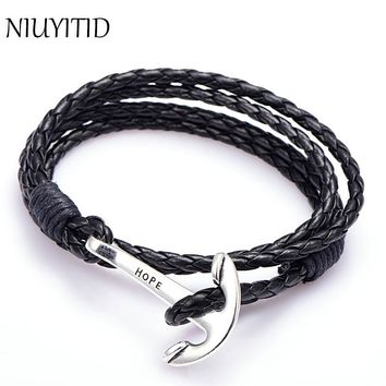 NIUYITID 40cm PU Leather Men Bracelet Jewelry Man Anchor Bracelet Wristband Charm Braclet For Male Accessories Hand Cuff