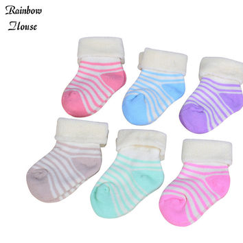 New 2017 Baby Socks Winter Striped Socks Thick Warm Children Infant Boys Girls Socks Cotton Baby Newborn Socks 5pairs/lot