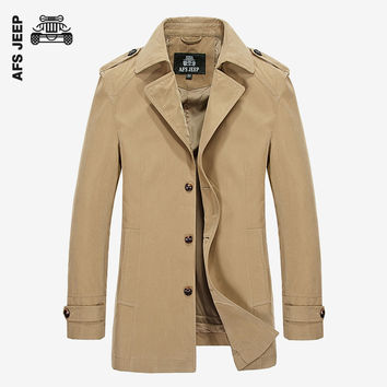 Winter Men Long Jackets Solid WIndbreaker Trench Coat Slim Casual Long