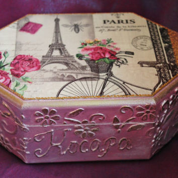 Personalized jewelry box, Paris box, girls jewellery box, girls birthday gift, personalized box for girl, Paris decor,nursery decor
